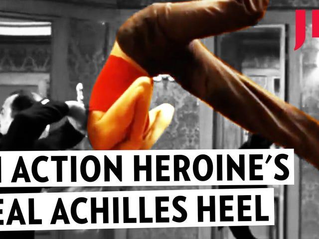 En Kvinna Action Stjärnans Äkta Achilleshäls