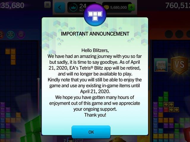 Σύντομα δεν θα είστε σε θέση να παίξετε το επίσημο παιχνίδι Tetris του EA στο iPhone σας