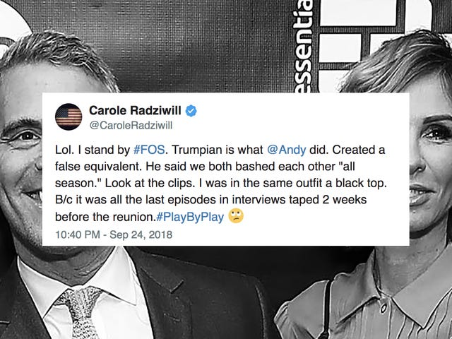 Andy Cohen Compares Carole Radziwill to Trump, Carole Radziwill Responds With An Eyeroll