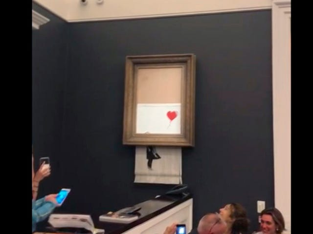 Banksy's Predictable Criticisms of Capitalism Continue With Self-Shredding Painting