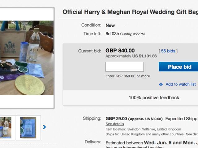 Puede comprar una bolsa de basura a un precio excesivo de la boda real en eBay