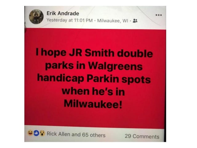 Lawsuit: Milwaukee Officer At Sterling Brown Arrest Joked About It On Facebook, Hoped To Do The Same To J.R. Smith