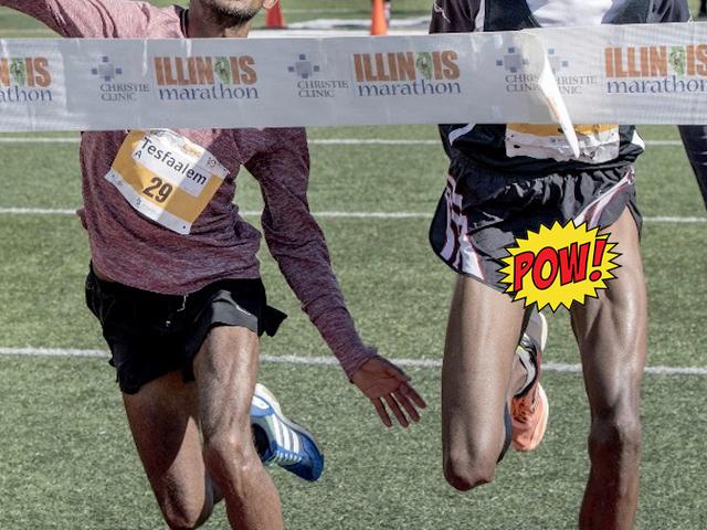 Mischievous Dong Photobombs Marathon Photo Finish [NSFW]