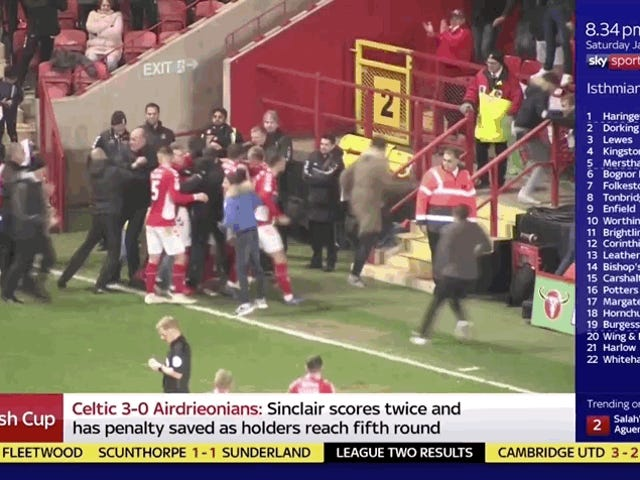 Charlton Fan Accidentally Kicks His Own Team's Player In The Dick And Balls Trying To Celebrate Game-Winning Goal