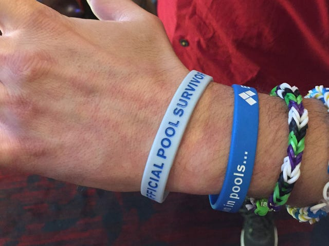 """Mike """"OlafRedland"""" Spragg displays his Evo wristbands after making it out of his Street Fighter V po"""