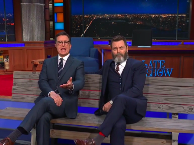 Nick Offerman judges Stephen Colbert's wood on The Late Show