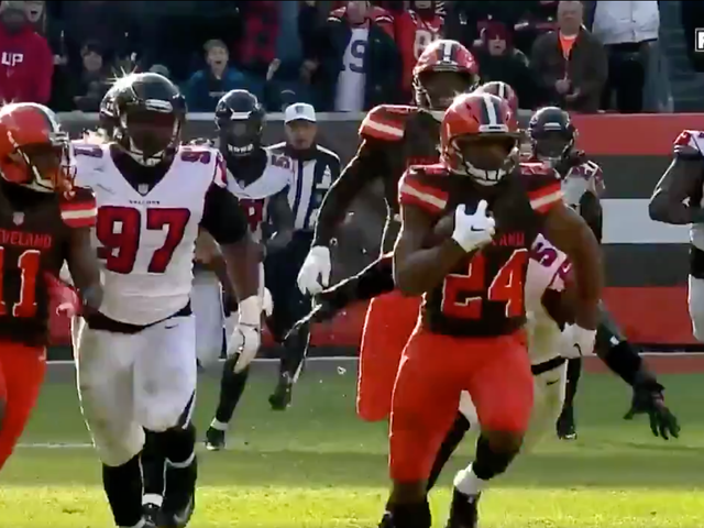 Nick Chubb Ran All Over The Falcons For The Longest Play From Scrimmage Of The Season