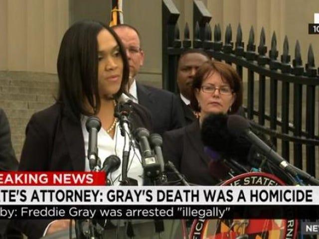 ウォッチ:フレディ・グレイの死が支配した殺人。 彼の死で告発された6人のボルチモア役員