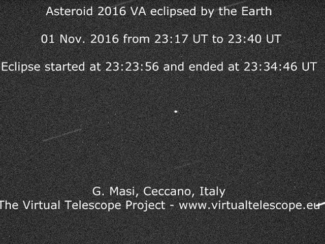 Asteroidi Zipped läpi maan Shadow Last Night