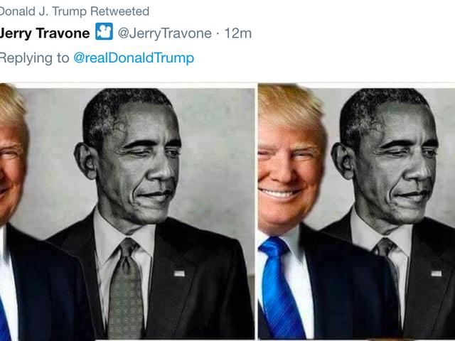 Trump lanza un Meme de sí mismo Eclipsando a Obama en su desquiciado, Typo-lleno mañana Tweetstorm