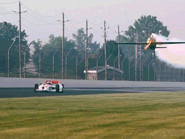 Indy 500 Champ Races Inverted Stunt Plane