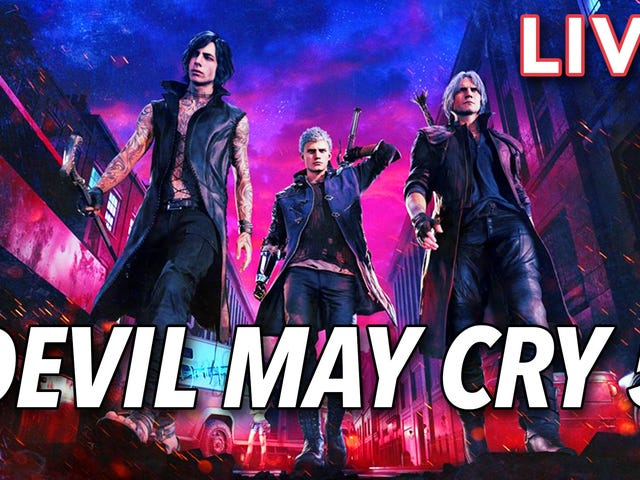 I'm playing Devil May Cry 5 with my pal Tim Rogers right now on Twitch