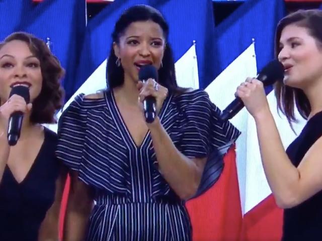 Hamilton 's Schuyler søstre improviserede en linje om sygehus i' America The Beautiful 'på Super Bowl