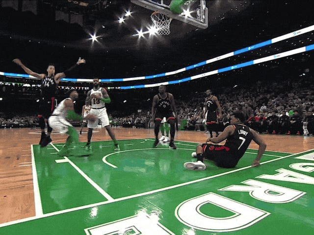 """Marcus Smart """"Dunked"""" Onto An Injured Kyle Lowry"""