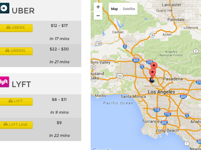 Fare Estimate Compares Prices Between Uber and Lyft