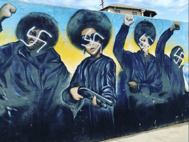 Black Panther Mural on Crenshaw Boulevard in South Los Angeles Defaced With Swastikas