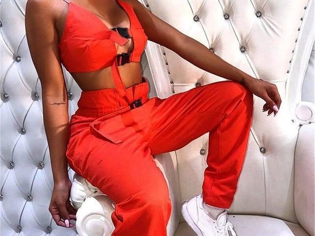 2Pcs Women Cami Cool Bra Button Hollow Out Tops Belt Cargo Pockets Long Pants