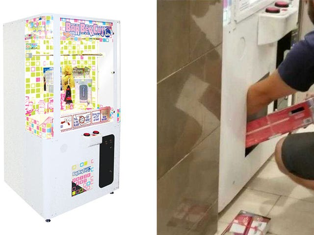 Dad Gets Toddler To Climb Inside Prize Machine, Steal Nintendo Consoles