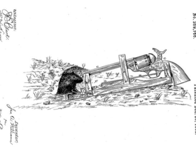 Dit patent uit 1882 voor een 50-kaliber muizenval is waarschijnlijk Overkill