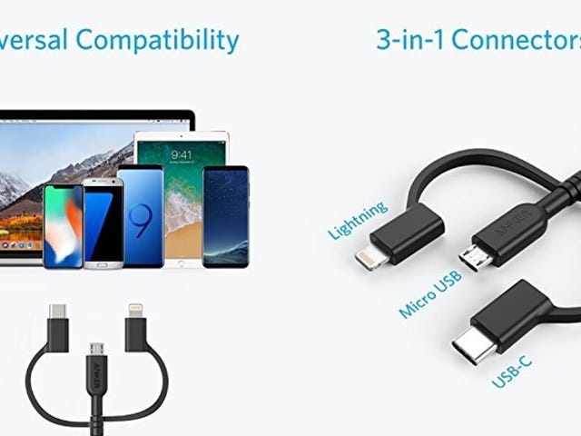 This Trident of Charging Includes MicroUSB, USB-C, and Lightning Connectors For $11