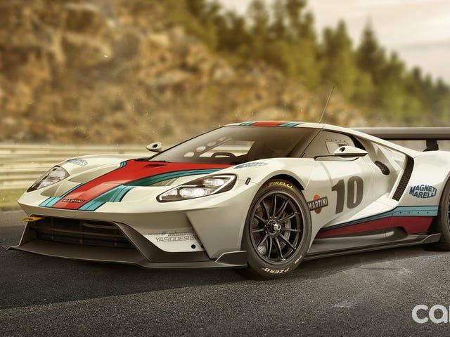Вот гоночный автомобиль Ford GT с ливреей мартини
