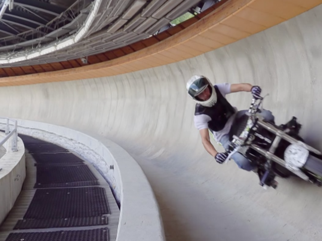 motorcycle on bobsleigh course?