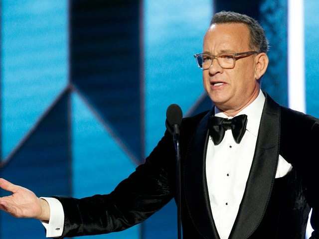 Witness the birth of the year's first meme with Tom Hanks' Golden Globes grimace