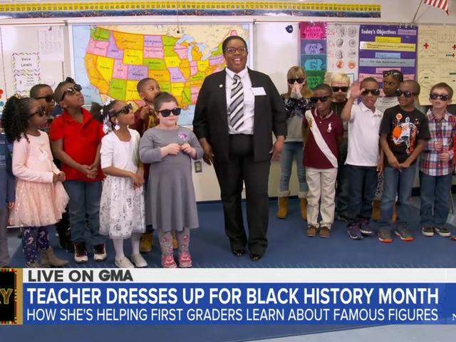 Der Lehrer der 1. Klasse bringt Black Excellence ins Klassenzimmer, indem er sich während des Black History Month als historische Figuren verkleidet