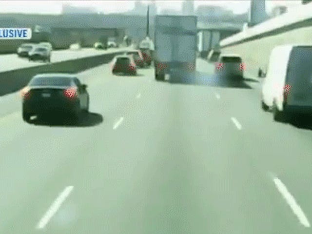 Dashcam Records Transport Truck Rolling Right Into Highway Traffic