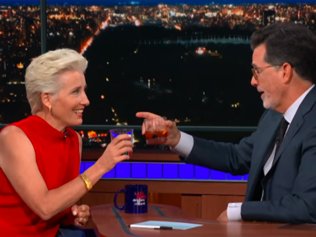 On The Late Show, Emma Thompson contemplates an alternate future as Donald Trump's First Lady