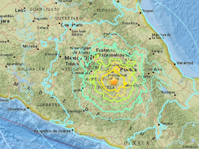 Uændret terremoto de magnitud 7,1 con epicentro en el estado de Puebla sacude Ciudad de México