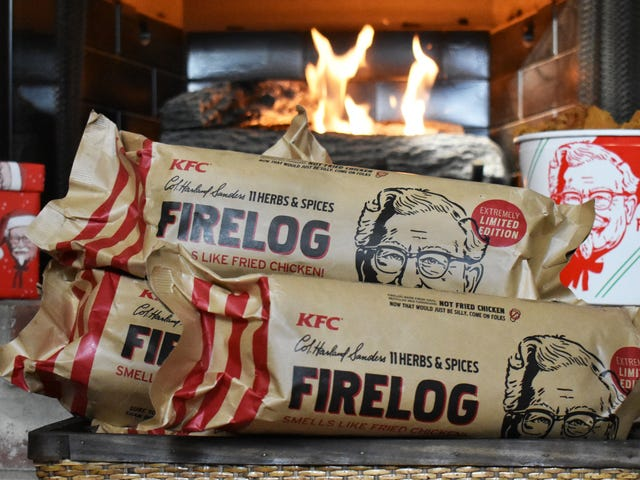 KFC assumes you're interested in purchasing this fried chicken-scented firelog<em></em>