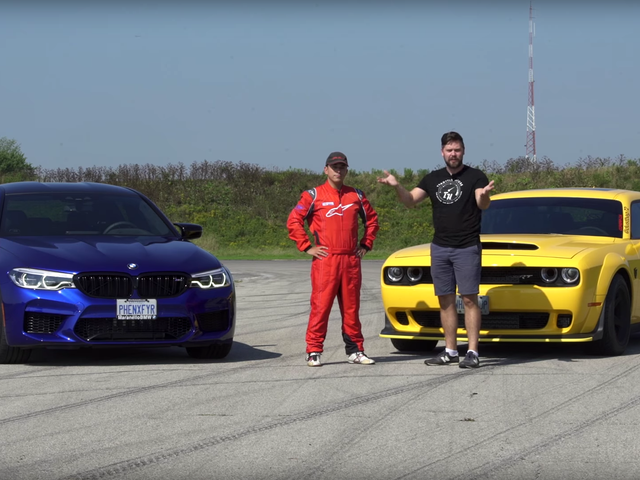 A Shootout Between the BMW M5 Competition and the Dodge Demon Goes Down Exactly As You'd Expect