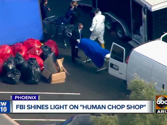 """聯邦調查局在一個人體捐贈中心發現一個裝滿頭的水桶,一個裝有陰莖的冰箱和一個縫有""""弗蘭肯斯坦""""字樣的屍體"""