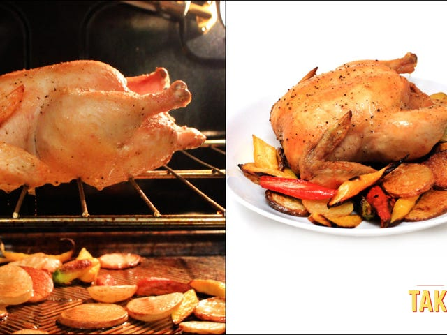 Roast a chicken right on the oven rack and let its delicious fat baste your vegetables