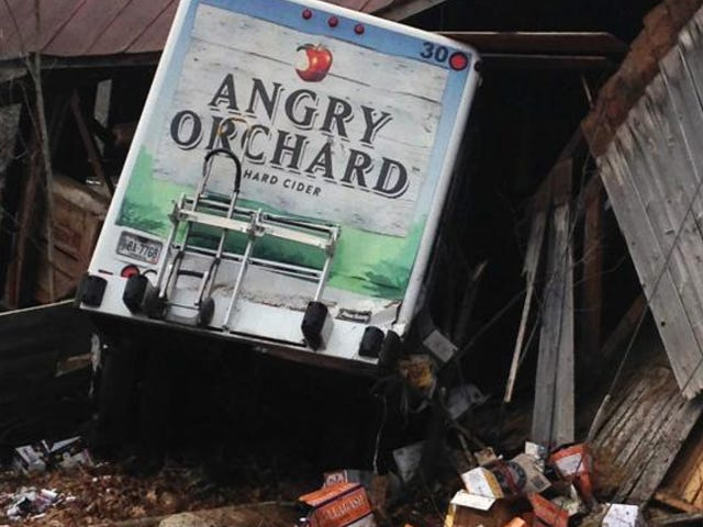 Angry Orchard Truck Seeks Revenge For Fallen Tree Brethren By Taking Out Wooden Barn
