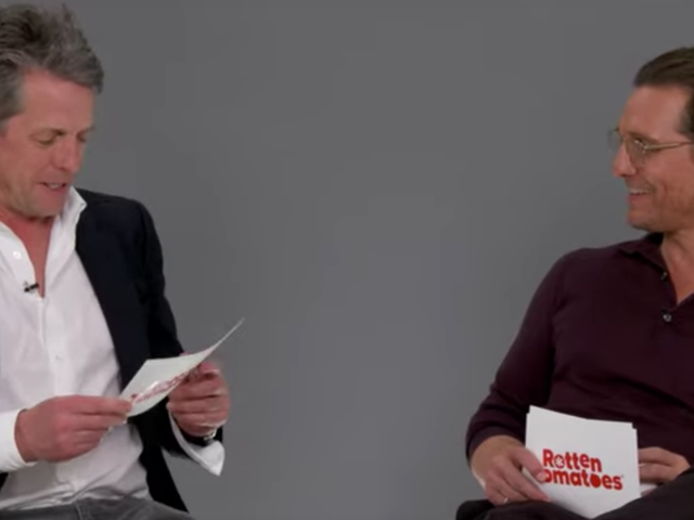 Watch Hugh Grant and Matthew McConaughey read reviews of their movies to each other