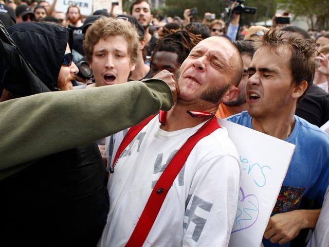Een geannoteerde verdeling van een nazi die in het gezicht wordt geslagen