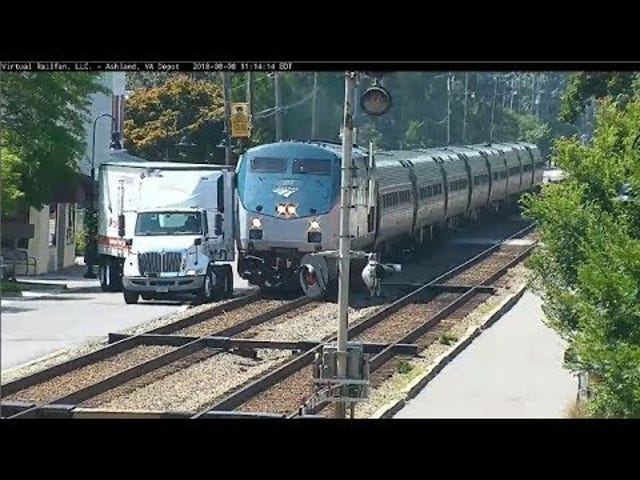 Near Miss Between Delivery Truck and Amtrak Train