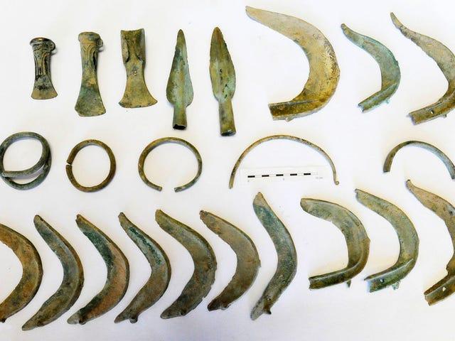 Sale a pasear con su perro y desentierra una urna con artefactos de bronce de hace 3.000 años