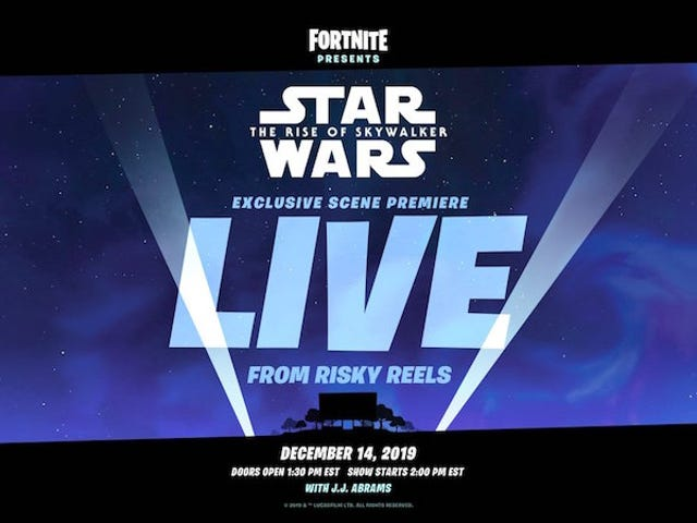 Se estrenará una nueva escena de Star Wars: The Rise of Skywalker en un cine de Fortnite