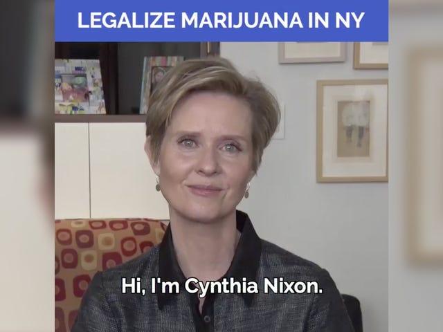 Синтія Ніксон задумливо схвалює юридичну марихуану, не вдасться розігнати Бонга у відео