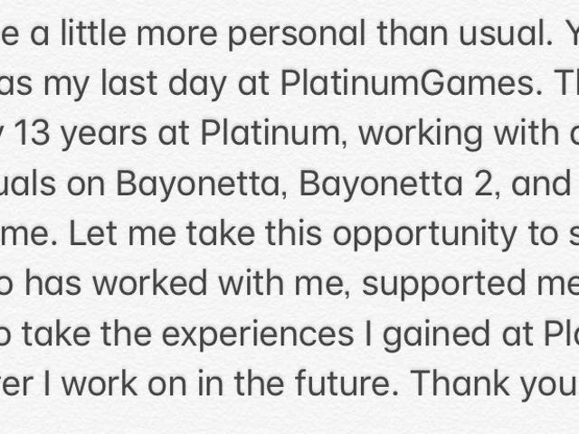 Bayonetta 2 director Yusuke Hashimoto has left Platinum Games. Hashimoto also produced the first Bayonetta and directed Star Fox…