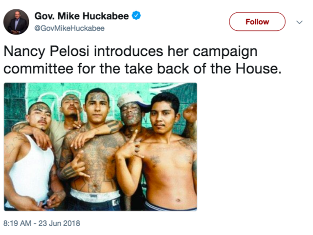 Mike Huckabee Tweets Racist Photo Associating Nancy Pelosi With MS-13 Gang