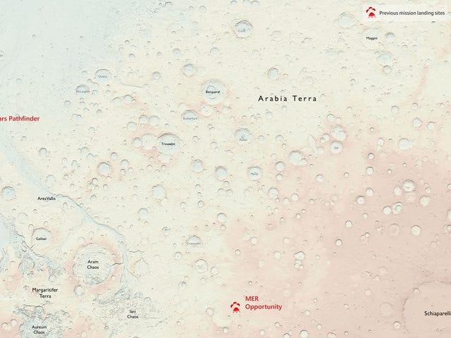 Chúng tôi nghĩ rằng những bản đồ này của sao Hỏa vô tình tiết lộ trang web của một Landing Mars Land sắp tới