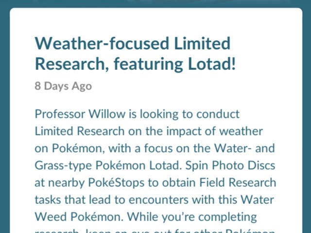 Pokemon Go--Lotad Limited Research Day