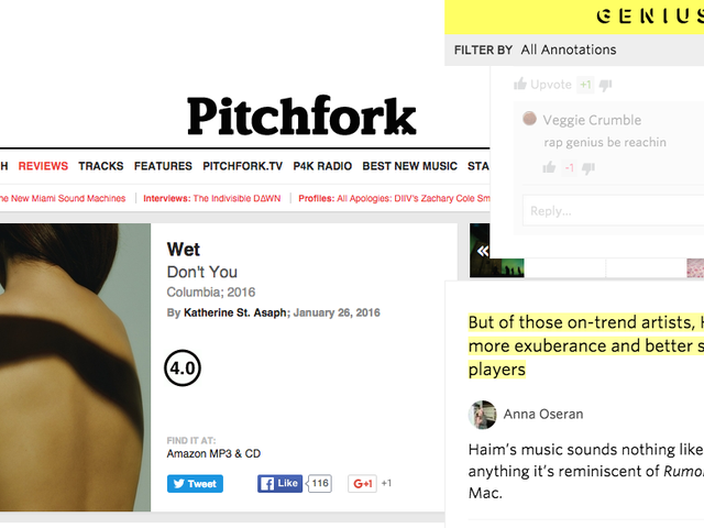 Genius Annotates a Pitchfork Review and Every Music Critic Bursts Into Flames