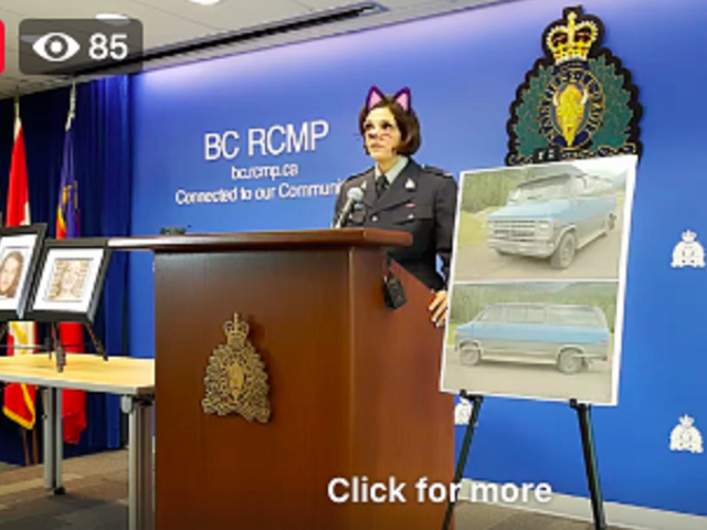 RCMP si scusa dopo aver trasmesso in streaming la conferenza stampa sulla doppia uccisione con il filtro gatto attivato
