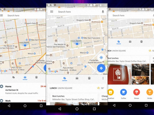 Google Maps Update Adds a Bottom Bar With Transit Info, Nearby Places, and More