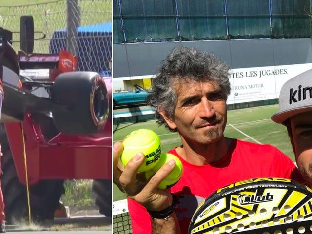 Eternal F1 Sad Boy Fernando Alonso ปล่อยให้เล่น Paddle หลังจากเครื่องยนต์ของเขาระเบิดขึ้นบนรอบแรก